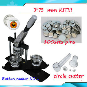 "DIY 3"" Button maker kit!! Badge Maker+Circle Cutter+100 Pin"