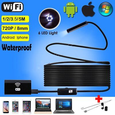 5M 1080P 2MP 8mm WIFI Endoscope Borescope Inspection Camera For iPhone Android