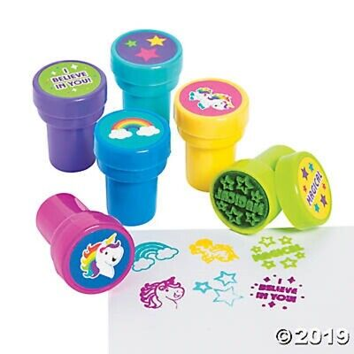 6 Unicorn Rainbow Self Ink Stampers Birthday Party Favors Gifts Kids Crafts - Kids Birthday Favors