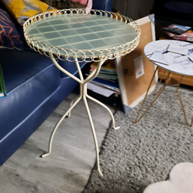 Ornate metal and glass side table