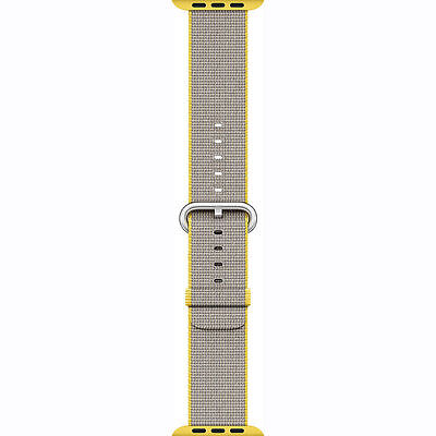 Genuine Apple Watch Woven Nylon Band 38mm Yellow/Light Gray MNK72AM/A - VG