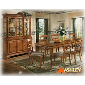Beautiful Ashley Furniture Table, Chairs, Buffet and Hutch