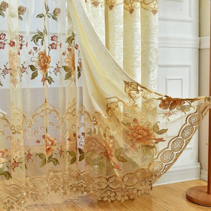 European Luxury Embroidered Sheer Hollowed Velvet Cloth Curt