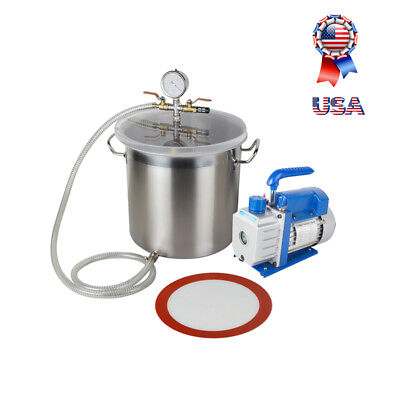 5 Gallon Stainless Steel Vacuum Degassing Chamber Silicone Kit Single Stage