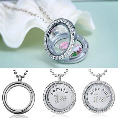 Living Memory Floating Charm Crystal Glass Round Family Grandma Locket Necklace