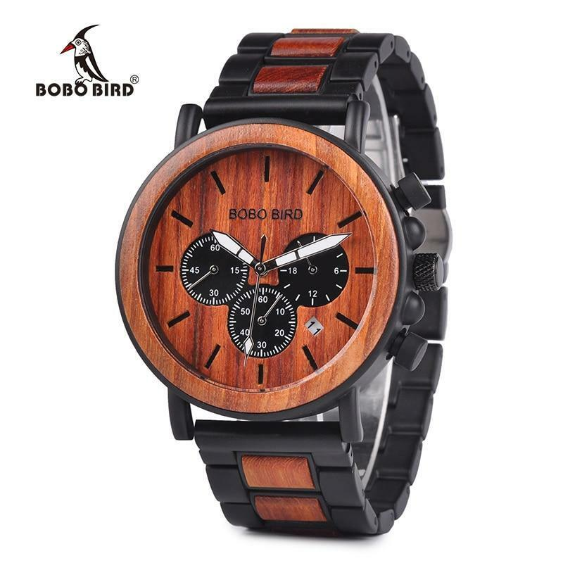 wood wrist watch for men with luminous