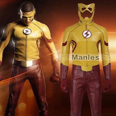 The Flash 3 Costume Kid Flash Wally West Cosplay Christmas Leather Full Set Men (Flash Costume Men)