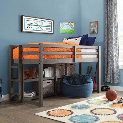 Loft Bed Kids Twin Bunk Over Storage Beds Bedroom Furniture Ladder Shelves (Wood Loft Bed)