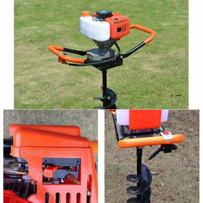 52cc 2-stroke Gas Powered Post Hole Digger Auger Borer Drill 3 Bits Air Cooling