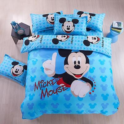 Bedroom Disney Mickey Mouse Bedding Set Girls Boys Duvet Cover+Sheet+Pillowcase ()