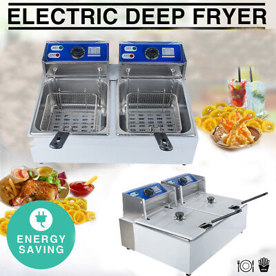 5000W 11 Liter Electric Countertop Deep Fryer Dual Tank Commercial Restaurant US