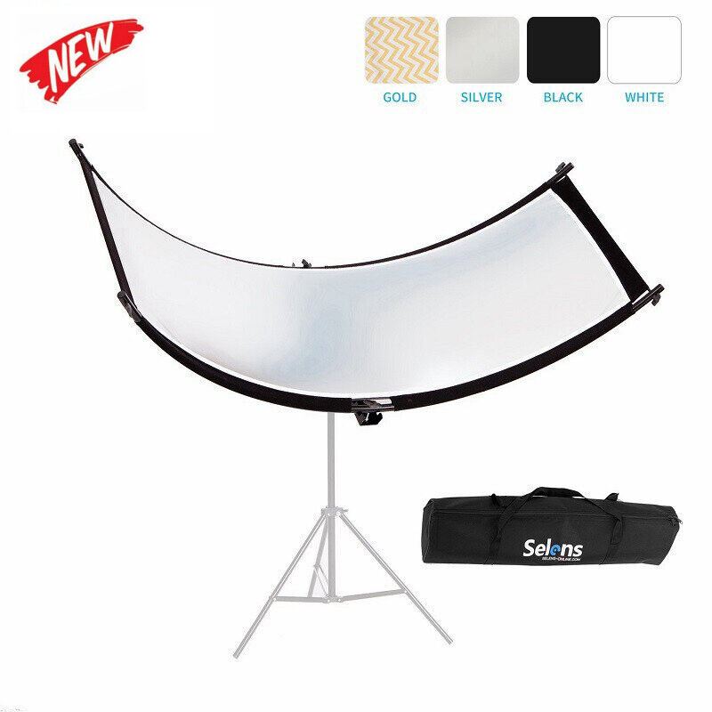 Curved Portable Light Reflector Photography Photo Studio Lighting Black Silver U