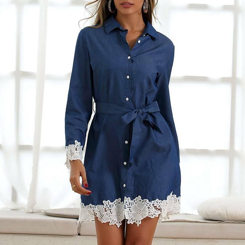 Damen Spitze Denim Hemdkleid Jeanskleid Langarm Longshirt Bluse Lässig Minikleid