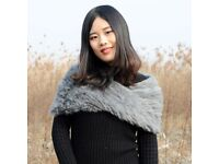 DAYMISFURRY--Real Rabbit Fur Knit Snood In Grey