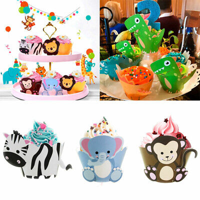 Cupcake Birthday Cakes (12pcs Birthday Animals Cupcake Cake Wrapper Toppers Dinosaur Kids Jungle)