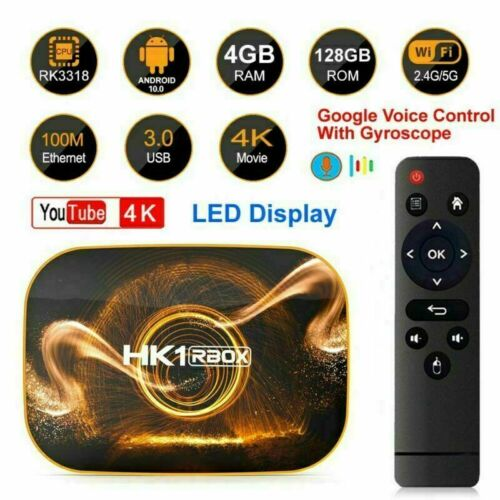 HK1 Pro Android 10.0 Quad Core 4GB+128GB 4K Smart TV BOX 5G