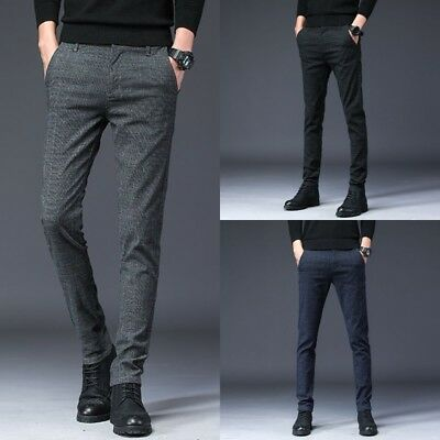 Men's Slim Fit Skinny Pencil Pants Plaid Business Formal Dress Casual Trousers (Plaid Pants Mens)