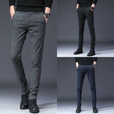 Men's Slim Fit Skinny Pencil Pants Plaid Business Formal Dre