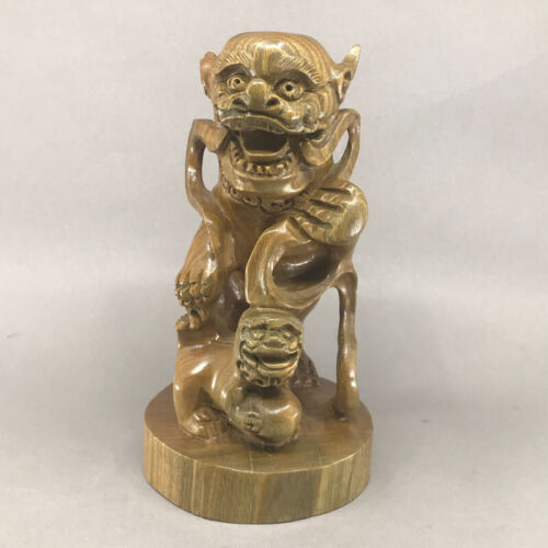 Chinese Natural Sandalwood Double-lion Statue