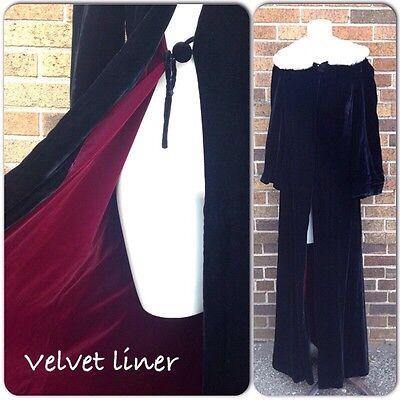 Vintage 1930s Black Velvet Opera Coat With Fur Collar Full Length Jacket Small
