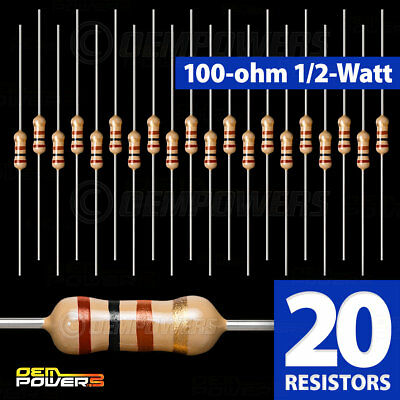 20 X Radioshack 100-ohm 12-watt 5 Carbon Film Resistor 2711108 Bulk Pack New