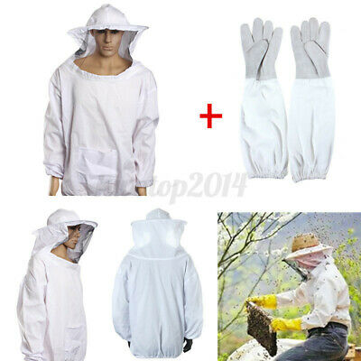 Protective Bee Keeping Jacket Veil Smock Hood Suitbeekeeper Long Sleeve Gloves