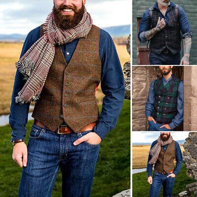 Men's Plaid Vests Suit Wool Herringbone Tweed Waistcoat Lapel Groomsman -