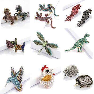Fashion Crystal Rhinestone Lizard Horse Dinosaur Hedgehog Dog Brooch Pin -