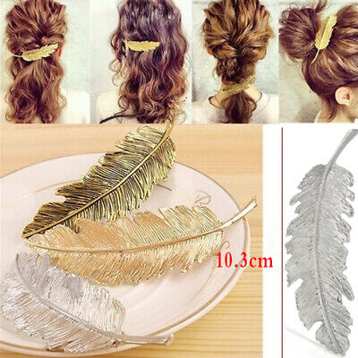 Leaf Feather Hair Pin Jewelry Women Vintage Hair Clip Barrette Bobby Pins Gold Y