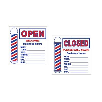 Scalpmaster Barber Shop Open Closed Business Hours Sign Decoration Bk-sc-9016