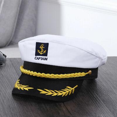 Weiß Herren Marine Admiralsmütze Kapitän Mütze Captain Hut Kapitänsmütze Kostüm