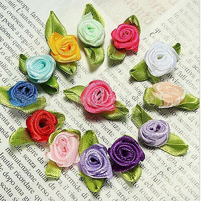 100pcs Satin Ribbon Flowers Rose Wedding Decor Sewing Appliques DIY Craft