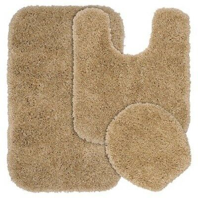 NEW 3PC BATHROOM SET 1 BATH RUG 1 CONTOUR MAT 1 TOILET LID COVER #6 TAUPE TAN