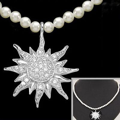 EDELWEISS Schmuck Set Perlen Kette & Anhänger 925 Silber Oktoberfest Hochzeit ღ
