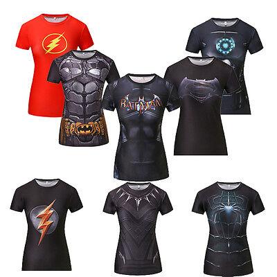 Women Casual Marvel Costume Superhero superman T Shirt Short Sleeve Girl Fitness - Superhero Women