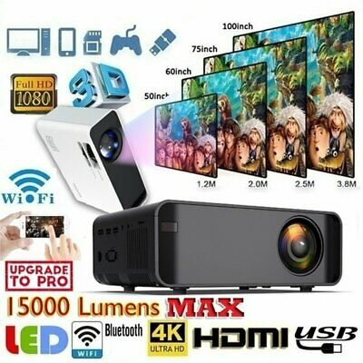 15000Lumens 4K 1080P HD WiFi Mini 3D LED Home Theater Projector Cinema USB HDMI