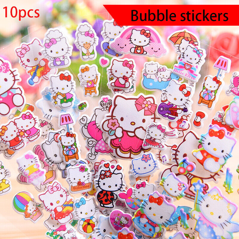 10 sheets 3D Bubble Stickers Hello Kitty Cartoon Classic Kids Reward Toy Gift