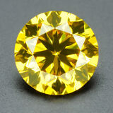 CERTIFIED .091 cts Round Cut Vivid Yellow Color VS Loose Real/Natural Diamond 1B