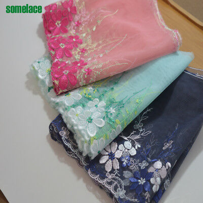 - 1Y  green~dark blue~pink gauze color floral embroidery for Garment Accessories