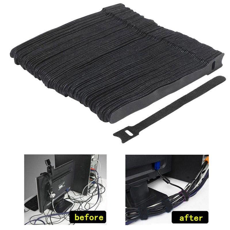 50Pcs Reusable Black Cable Cord Nylon Strap Hook Loop Ties T