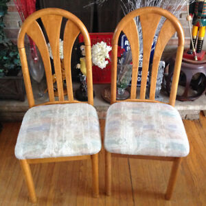 2 solid maple wood frame kitchen/dining chairs  - each $20
