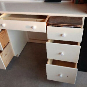 Wood White Desk 7 drawers