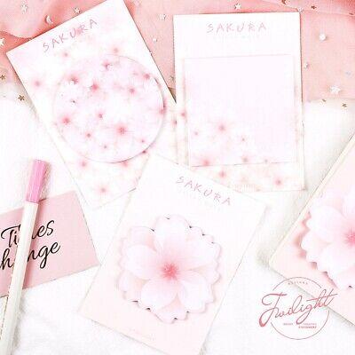 Pink Sakura Memo Paper Pad Sticky Notes Post Sticker Japanese School Supplies