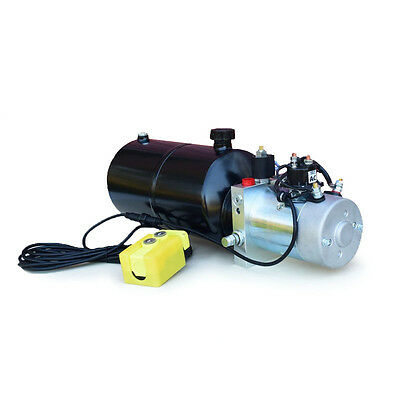 12 Volt Hydraulic Pump For Dump Trailer - 6 Quart Steel - Single Acting