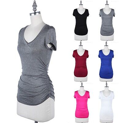 Short Sleeve V-Neck Solid Top with Ruched Sides Casual Rayon Spandex S M L