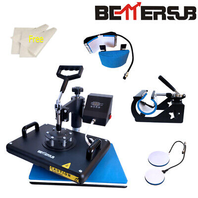 5in1 Combo 15x12 Heat Press Machine Sublimation Transfer T-shirt Mug Plate Hat