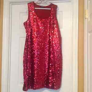 Red sequins holiday dress