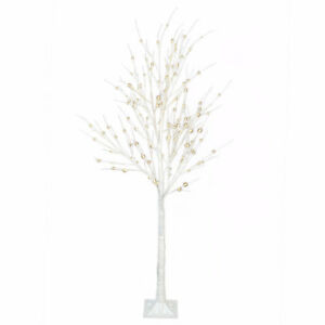 Two DANSON Light Pre-lit Birch LED Trees, party happy Christmas