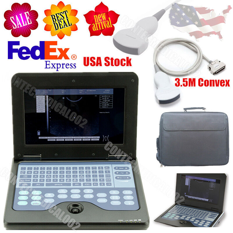 Digital Portable Ultrasound Machine Laptop Scanner with 3.5Mhz Convex Probe,USA