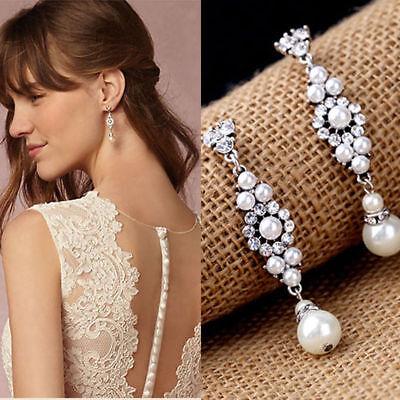 Bridal Wedding Prom Silver Crystal & Pearl Drop Dangle Vintage Earrings